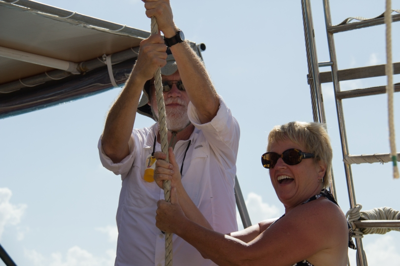 Bill and Gail Hoisting the sails