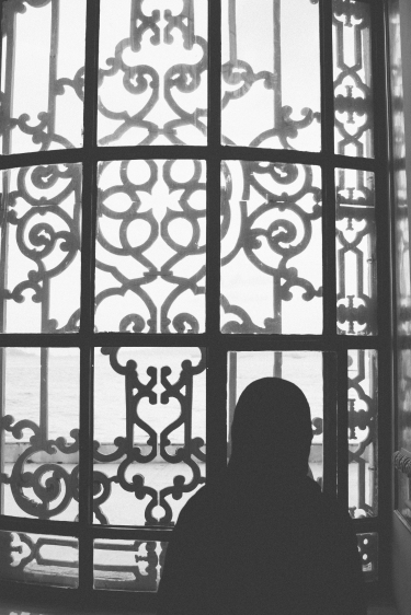 Taken from inside a mosque, Caitlin looking out.
