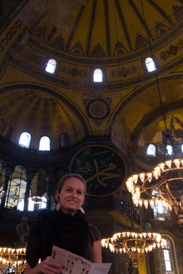 Caitlin listening too all the details of the Hagia Sophia. Gotta love that dedication.