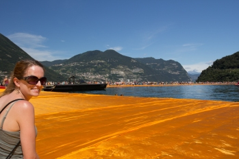 Caitlin enjoying the Floating Piers