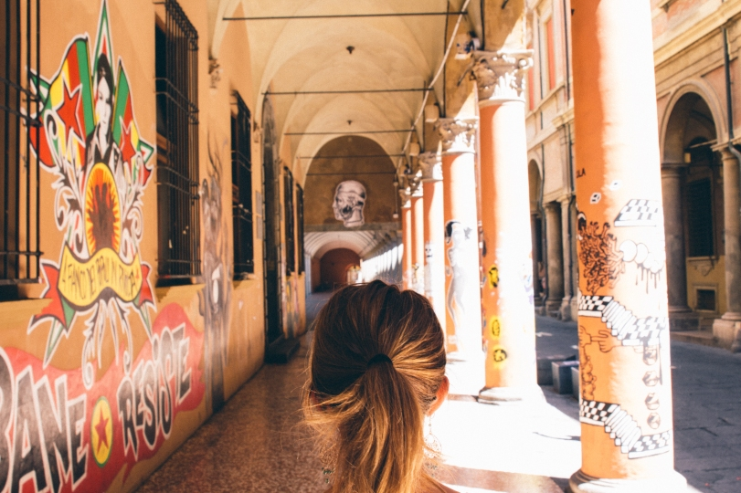 Arches with graffiti.