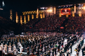 All the military bands at the end. You can see the bagpipes in the middle