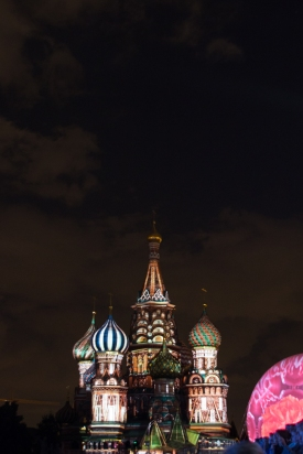 They were changing the lighting on the cathedral all night.