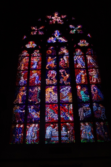 Amazing stained glass windows, they almost looked like mosaics because they were made of so many little pieces of glass