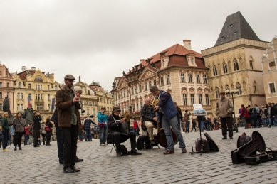 Musicians in the square in Prague.
