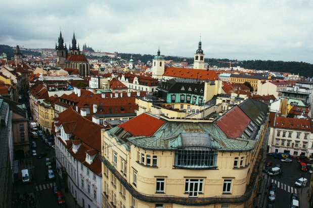 The view of Prague from the powder tower.