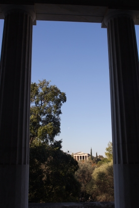 The view of the the temple of Hephaestus in the Agora.