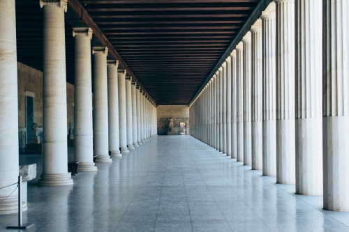 Stoa of Atallos. Rebuilt in the 20th century but was originally designed to provide shade for people to hang out and talk. Apparently the columns are smooth at the bottom to allow people to lean on them, which was encouraged here but different at temples where the fluting extended to the floor.