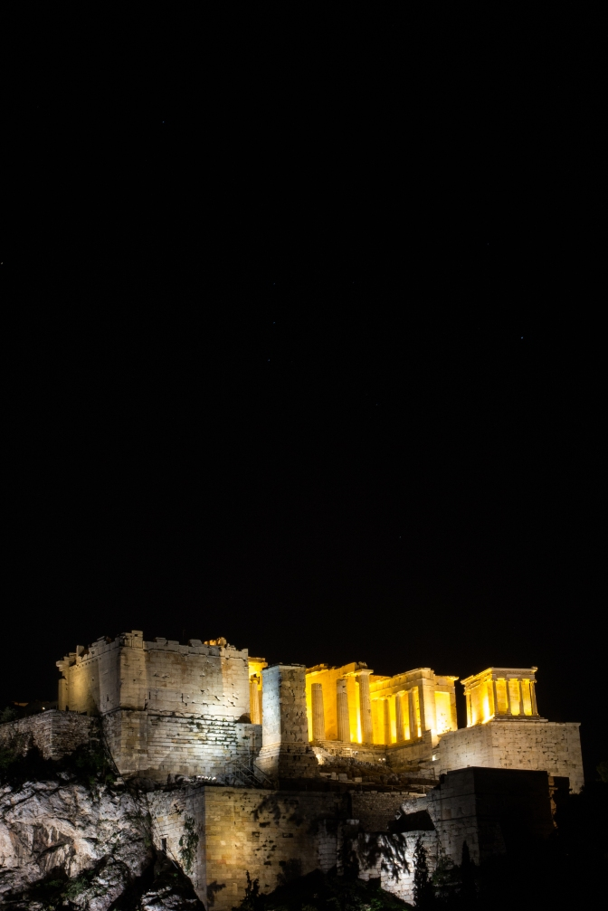 Acropolis at Night from Mars hill.