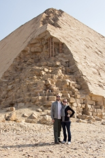 Dahsher Pyramid, with us. Here you can see the outer layer of stones that made it smooth.