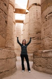 Caitlin geeking out in Karnak temple. She taught about the hypostyle Hall so many times and finally got to experience it herself.