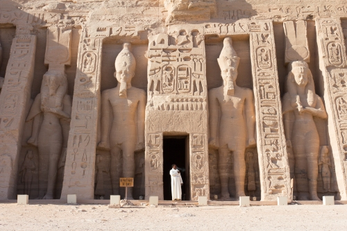 The guard having a smoke break in front of Nefertari Temple.
