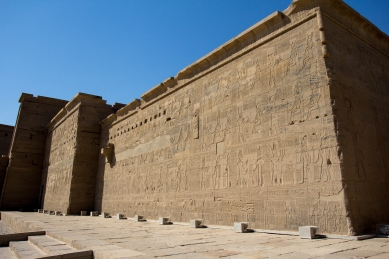 One of the walls with massive amounts of hieroglyphs.