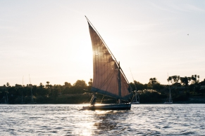 A felucca as the sun set.