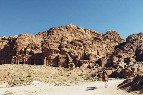 A view of the facades of the buildings carved into the cliffs. The site was a much larger site than I had realized.