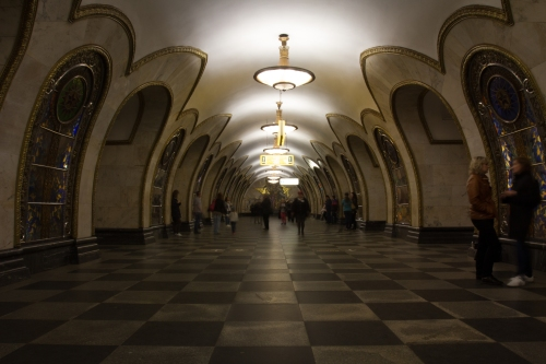 Novokosino Metro stop. Has stain glass on the walls.