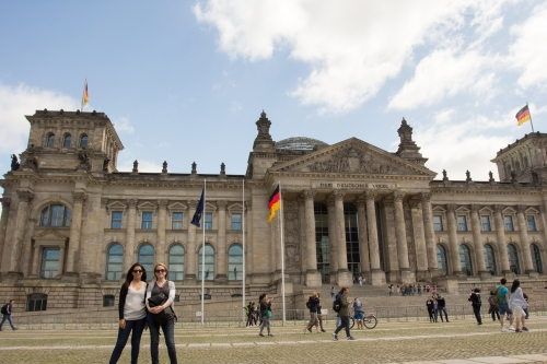 In front of the Reichstag.
