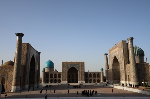 The Registan in Samarkand. It was so cool to see it smack in the middle of the city.