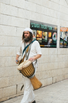 A hired musician for the procession of the Bar Mitzvah boys.